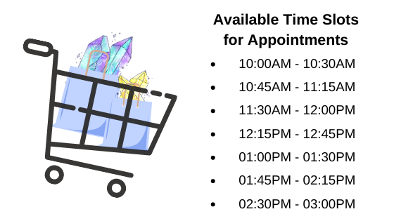 Virtual Personal Shopping Experience Available Time Slots